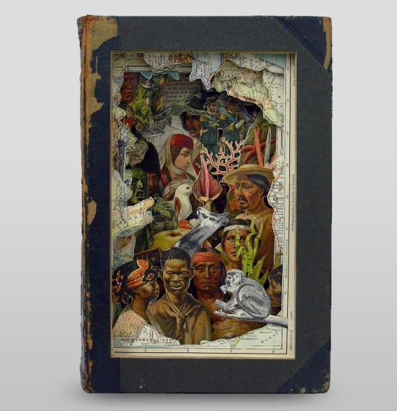 """Alexander Korzer-Robinson's amazing antique book art."" http://livingdesign.info/tag/antique-books/"